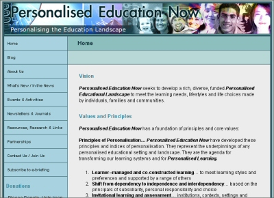 Personalised Education Now web site image