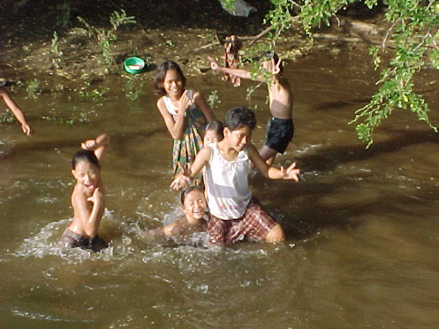 playing in the river