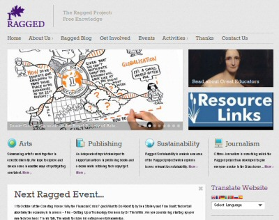 The Ragged University web site image